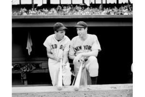 Ted Williams (l.) with Joe DiMaggio
