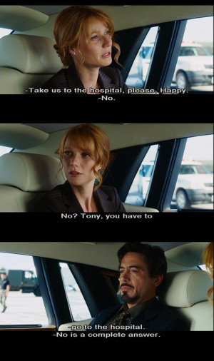 ... night inspirational quote: No is a complete answer (Tony Stark