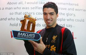 Proud: Luis Suarez holds up his award for the Race For The Golden Boot