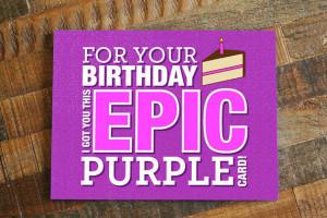 Gamer Birthday Card - Epic Purple, Geeky Birthday Card, Nerdy Birthday ...