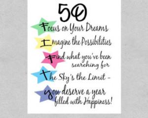 50th Birthday Card, Milestone Birthday Card, Follow Your Dreams Card ...