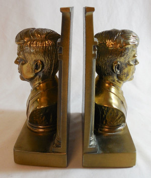 ... Kennedy Brass Bookends Bust JFK President with Famous Quote