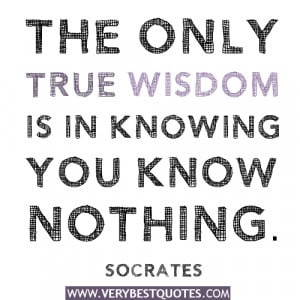 ... only true wisdom is in knowing you know nothing – Socrates quotes