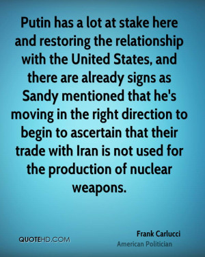 Putin has a lot at stake here and restoring the relationship with the ...