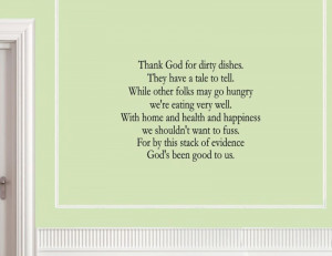 Vinyl wall art words quotes Thank God for dirty dishes