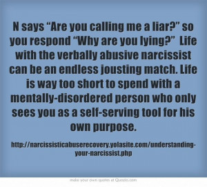 """""""Why are you lying?"""" Life with the verbally abusive narcissist ..."""