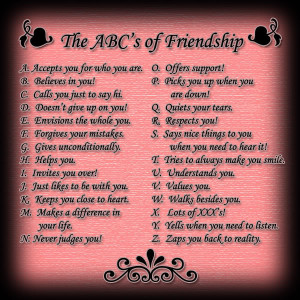 The ABC's of Friendship.....