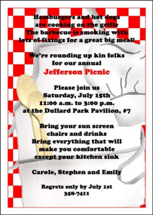 help with your family or company picnic invitations and family reunion ...