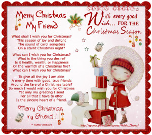 Merry Christmas Quotes For My Friends ~ Merry Christmas, My Friend.