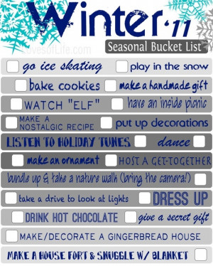 Winter to do list!
