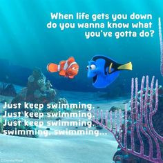 Swimming Quotes Inspirational Kootation.com. nemo just keep