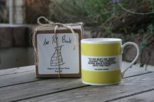 ... Great Gatsby Quote/So We Beat On Hoop Mug (pictured in light green