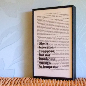 Pride and Prejudice Quote Altered Book Page Art Mr Darcy She is ...