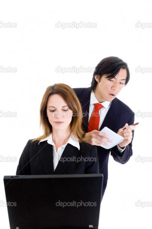 Business Man Cheating Stealing Shoulder Surfing Woman - Stock Image