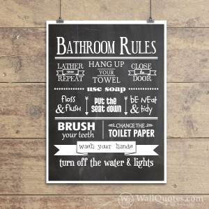 Bathroom Rules Classic Wall Quotes™ Giclée Art Print