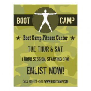 Body Madness Boot Camp Green Camo Fitness Flyers Custom Flyer