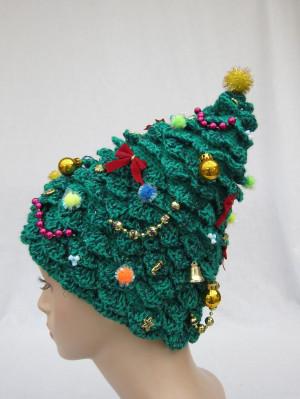 Christmas Tree Hat, crochet hat, creative hat, green hat, unusual hat ...