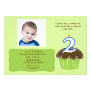 year old CUPCAKE PHOTO BIRTHDAY INVITE