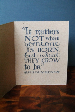 Dumbledore Quote Birthday Card from Harry Potter with an Envelope with ...
