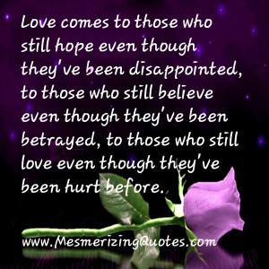 Love comes to those who still love