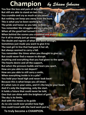 Gymnastics Poster Shawn Johnson Champion Poem Olympic Gymnast Quote ...