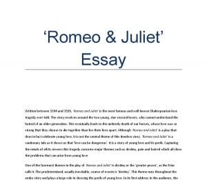Romeo and juliet persuasive essay