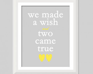 Came True Twin Quote, Twin Nursery Decor, Boy Girl Twin Nursery, Twin ...