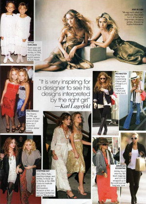 MKA MARY KATE MK ASHLEY OLSEN VOGUE 2006 COLLAGE KARL LAGERFELD QUOTE ...