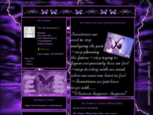 Purple Rain - Purple Butterfly Quotes MySpace Layout Preview
