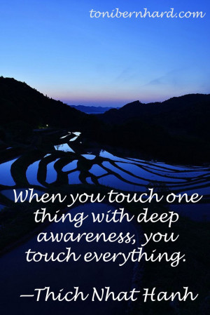 When you touch one thing...Thich Nhat Hanh