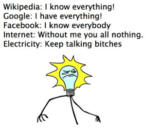 Wikipedia google facebook internet electricity