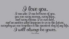 LOVE YOU ALWAYS BE YOURS THE NOTEBOOK QUOTE WALL DECAL LETTERING ...
