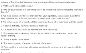 Ten Great Life Lessons from a Legend; Coach John Wooden