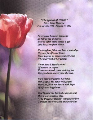 Click here to read the poem written by Aunt Mae on the occasion of her ...