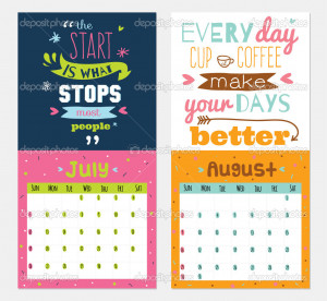 Yearly Calendar 2015 Quotes New Year wall calendar for