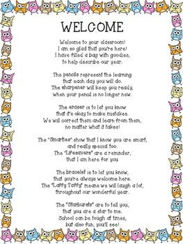 FREEBIE! Welcome Back Owl Poem for Back to School Goodie Bag Schools ...