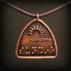 Braille necklace with Helen Keller quote! Love it