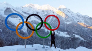 Nick Goepper 19 dangles from an Olympic ring in a picture from his