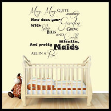 Nursery Rhyme Wall Stickers Quotes, Wall Decals, Wall Art, Graphics ...