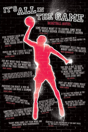 ITS ALL IN THE GAME Famous Basketball Quotations Poster - 17 Quotes on ...