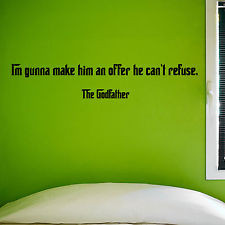 THE GODFATHER, LARGE WALL STICKER, Film, Quotes, Decal, WallArt, SS340