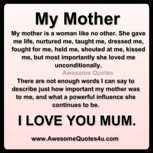 to love you mother quotes love of mother quotes quotes about love ...