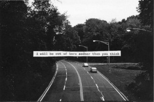 black and white, car, nature, quote, road, text