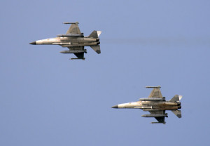 Two of Taiwan's fighter jets fly in the Taiwan Strait during a drill ...