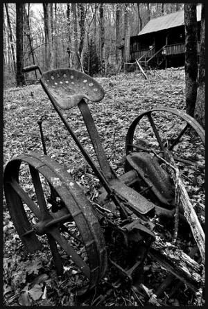 Vintage Lawn Care. ©Geoff & Kristy White. Black, White, Rustic, Cabin ...