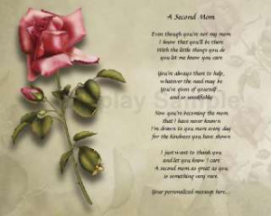 Second Mom Poem Stepmother Mothers Day Birthday Gift