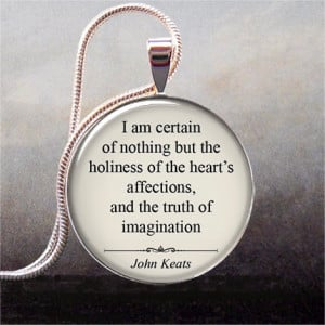 John Keats quotation pendant, inspirational quote on love, affection ...