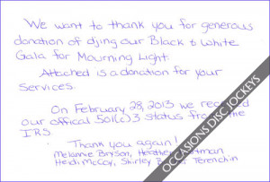 ... djing our black white school donation thank you letter sandles quotes