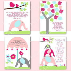 Nursery Wall art with Bible Verses Girl Birds Elephants and Trees ...