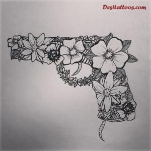 Grey Ink Flowers Gun Tattoo Design